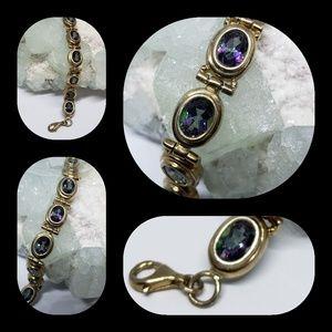 Jewelry - Mystic Topaz Gold Sterling Silver Bracelet